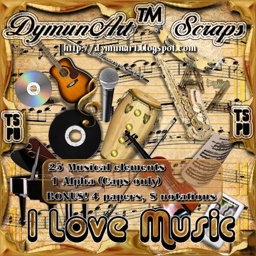I Love Music Mini Scrap Kit Preview